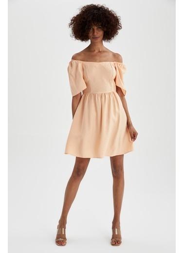 DeFacto Carmen Yaka Kelebek Kollu Yazlık Mini Elbise Turkuaz
